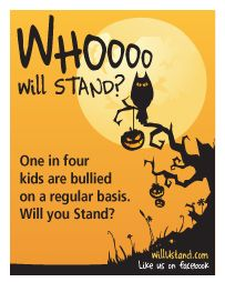Halloween themed cards w/anti-bullying message to share in trick or treat bags.  9 per page.  Free to download off http://www.willustand.com/resources.php