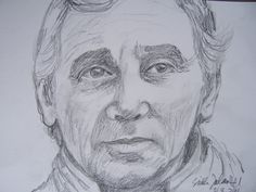 Charles Aznavour, pencil by Sirkka J 21.8.2016
