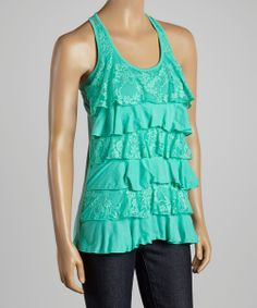 Mint Lace Ruffle Tank | Daily deals for moms, babies and kids