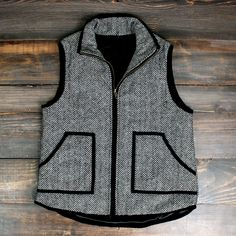 herringbone quilted print vest j crew inspired designer vest chic style winter spring women's outerwear puffer vest quilt stylish fashion outfits
