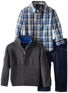 Nautica Baby-Boys Infant Pop Corn Stitch Sweater Set