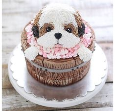 """School of home pastry"" Fondant Dog, Fondant Cakes, Cupcake Cakes, Puppy Birthday Cakes, Puppy Birthday Parties, Cute Cakes, Pretty Cakes, Puppy Cake, Animal Cakes"