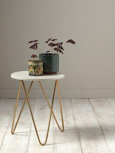 Petite table marbre/doré - Marbre pied doré - 1