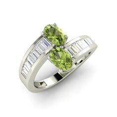 Oval-Cut Peridot Sidestone Ring in 14k White Gold with VS Diamond