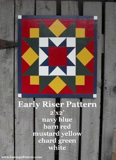Items similar to Barn Quilt, Early Riser Pattern on Etsy Barn Quilt Designs, Barn Quilt Patterns, Quilting Designs, Painted Barn Quilts, Barn Signs, Barn Art, American Quilt, Red Barns, Square Quilt