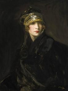 Sir John Lavery's The Gold Turban. Portrait of the artist's wife.