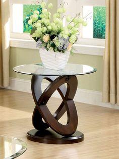 Furniture Of America Caliyah Round Glass Top Coffee Table Dark Walnut
