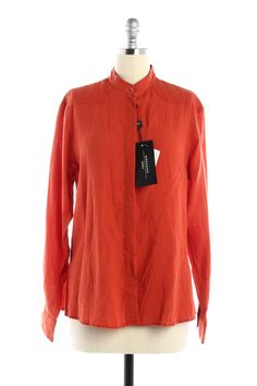 Check out NWT Max Mara Papaya Linen Button Down Shirt on Threadflip!