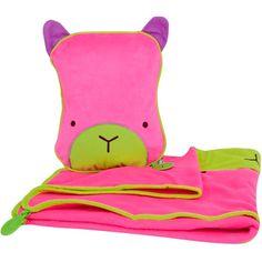 Manta y almohada de viaje Trunki Oso rosa