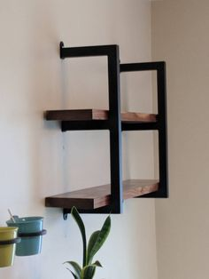 This Industrial Shelving Unit is Handcrafted from Cold Rolled inch square tube Metal. The Metal Shelving units are handmade to order. Each 2 shelf unit is tall. This Industrial Shelving unit… Industrial Metal Shelving, Metal Shelving Units, Metal Shelf Brackets, Industrial Interior Design, Modern Shelving, Industrial House, Industrial Furniture, Industrial Apartment, Urban Industrial