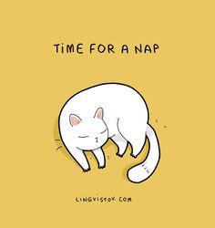 cute illustration; cat nap; by lingvistov
