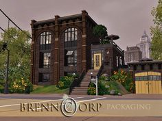 Brenn Corp Packaging by fredbrenny (The Sims The former Brenn Packing Corporation, leader in material handling equipment and solutions, has been transformed to a residential loft on a top A. Sims 4 House Plans, Sims 4 House Building, New House Plans, Industrial Apartment, Industrial House, Sims 3 Houses Ideas, Sims Ideas, House Ideas, Sims Love