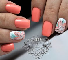 Beautiful nail art designs that are just too cute to resist. It's time to try out something new with your nail art. Glam Nails, Fancy Nails, Cute Nails, Beauty Nails, Pretty Nails, My Nails, Flower Nail Designs, Colorful Nail Designs, Flower Nail Art