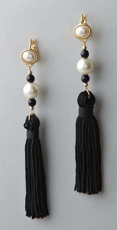 """Kenneth Jay Lane  Pearl Top Tassel Earrings  These gold-plated dangle earrings feature faux pearls, glass beads, and tassels.    * 5.25"""" (13 cm) long, including French hook."""