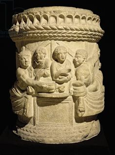 Urn depicting a family meal, from Aquileia (stone). Roman, (2nd century AD)…