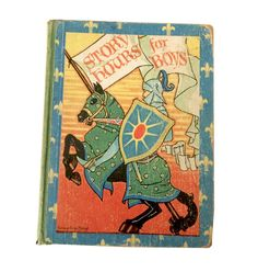 This vintage book cover is worth framing!  What's not to love about this amazing vintage boys storybook!  At My Booklandia on Etsy.  https://www.etsy.com/mybooklandia/listing/536488051/story-hours-for-boys-classic-childrens  #story book #amazing book covers #boys books