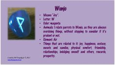 Wunjo Rune Correspondence Chart. Pin created by Bell Dragonfly for The Magical Circle School Class Runes 101. www.themagicalcircle.net