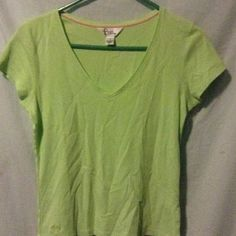 Lilly Pulitzer Med vneck lime green/ yellow top Size medium  great condition all cotton Lilly Pulitzer Tops Tees - Short Sleeve