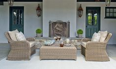 Love how this room blends indoors and out.  Kingsley-Bate Sag Harbor collection available at Thayer's.
