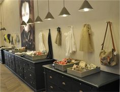 Bonpoint Store - pendants, chevron floors and black would work in kitchen design