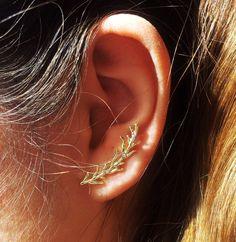 Items similar to 24 k Gold Plated Leaves Ear Stud Earring, Ear Cuff, Gold Ear cuff, Gold Earring, Ear Jacket on Etsy 24k Gold Jewelry, Ear Jewelry, Jewellery, Statement Earrings, Gold Earrings, Bling, Hearing Aids, Ear Studs, Designer Earrings