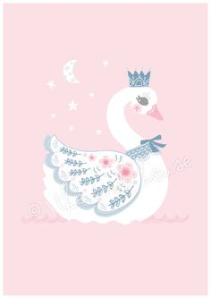 SWAN LARGE PRINT A3 Swan Illustration Swan wall art swam