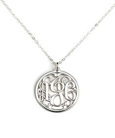 AJs Collection Sterling Silver Round Monogram Pendant Necklace | zulily