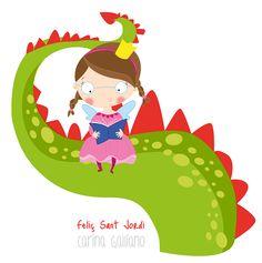 #SantJordi #ilustracion #infantil #princesita #libro #dragon #carinagalliano Art For Kids, Coloring Pages, Whimsical, Clip Art, Christmas Ornaments, Holiday Decor, Drawings, Pictures, Handmade