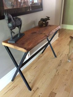 Stunning Console Table made from Reclaimed Barn Board with Painted Steel Base. Barn Boards, Drafting Desk, Console Table, Repurposed, Tables, Base, Rustic, Steel, Mirror