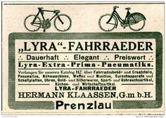 Original-Werbung/Inserat/ Anzeige 1914 - LYRA FAHRRÄDER / HERMANN KLAASSEN PRENZLAU. ca. 90 x 60 mm