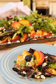 Peach, Blueberry, Gorgonzola and Toasted Walnut Grilled Pizza Salad