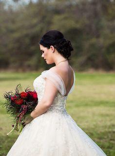 David Tutera for Mon Cheri Jelena  - Style 116230 - a metallic lace and tulle ball gown wedding dress