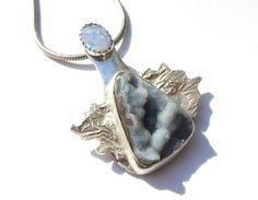 Opal druzy and sterling silver necklace. Inca de Opi by MayStudios, $164.00