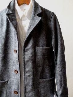 【Yarmo】DRIVER JACKET(Wool Oxford -GREY-)ヤーモ ドライバージャケット