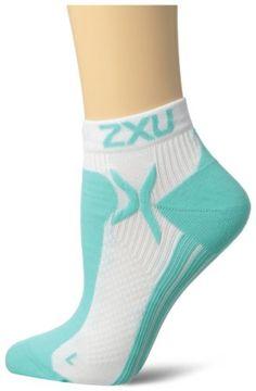2XU Women's Performance Low Rise Sock, White/Light Emerald, Medium/Large