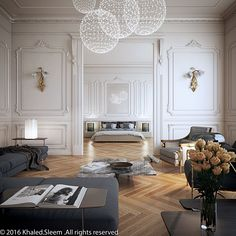 Living room/ bedroom, camel floors, white walls, grey couch
