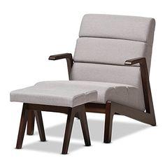 "Baxton Studio Charlotte Mid-Century Modern Walnut Wood Grey Fabric Lounge Chair Set, Chair, Grey/""Walnut"" Brown"