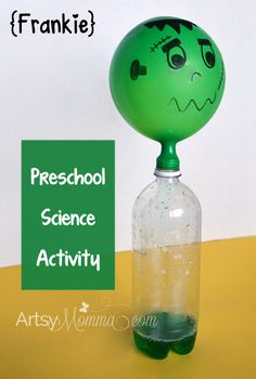 Halloween Science Activity for Preschoolers - Self-inflating Frankenstein Balloon