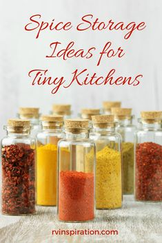 Spice Storage Ideas to Help You Organize Your RV Kitchen is part of Spice Organization For Rv - Organize your kitchen cabinets and keep your spices and herbs handy in a camper, travel trailer, motorhome, or small apartment with one of these ideas Diy Organisation, Spice Organization, Kitchen Cabinet Organization, Kitchen Cabinets, Trailer Organization, Organizing Life, Kitchen Spice Storage, Diy Storage, Storage Ideas