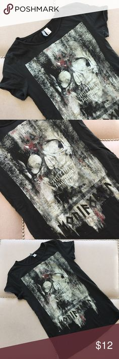H&M Graphic Tee Long black graphic tee. Worn twice. H&M Shirts Tees - Short Sleeve