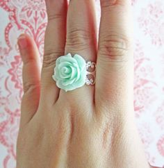 Mint+Ring+Mint+Flower+Ring+Mint+Green+Rose+Ring+Mint+by+Jewelsalem,+$15.00