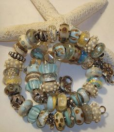 What a beautiful mix of Troll Beads | Take us to the beach!                                                                                                                                                                                 More