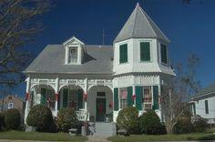 Rodrigue Residence (c. 1882) at 222 Lessard Street, a corner of Nicholls Street. Donaldsonville, Louisiana,