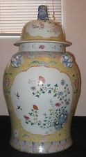 Antique Rare Huge Chinese Polychrome Hand Painting Porcelain Vase,19th C.,NR