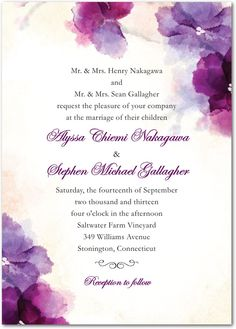 Soft Bougainvillea: Wedding Invitations, Bridal Shower Invitations & Announcements by Wedding Paper Divas Purple Wedding Invitations, Personalised Wedding Invitations, Watercolor Wedding Invitations, Wedding Invitation Design, Wedding Stationary, Bridal Shower Invitations, Personalized Wedding, Watercolour Invites, Watercolour Drawings