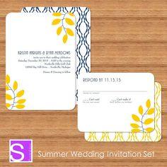 Leaves Wedding Invitation Printable DIY Summer by SteliePrintables, $65.00