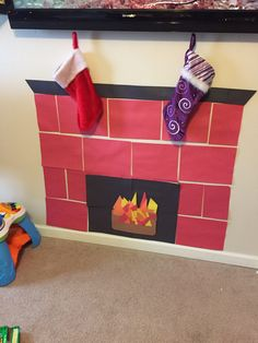 Construction paper fireplace!