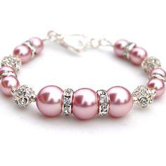Valentines Bracelet Sparkling Pink Pearl Bracelet by AMIdesigns, $18.00