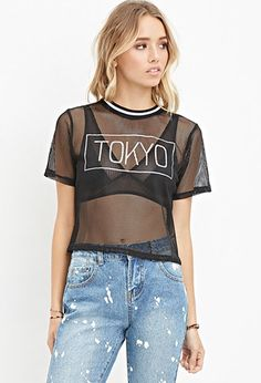 Tokyo Graphic Mesh Top | Forever 21 - 2000146105