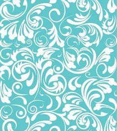 Papel de parede azul turquesa com damask robustas em branco - Turquesa 02